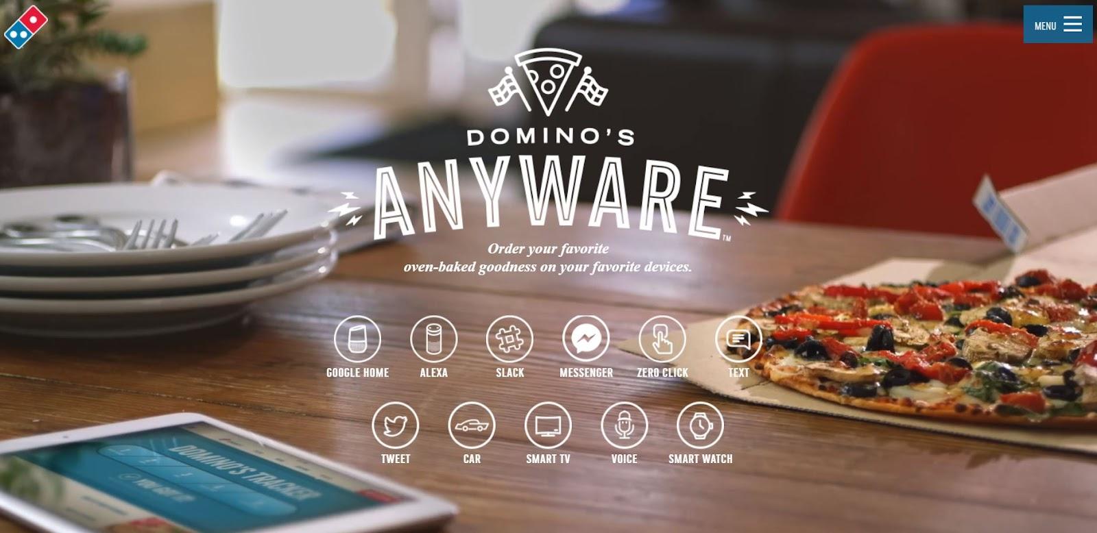 Domino's pizza ordering site