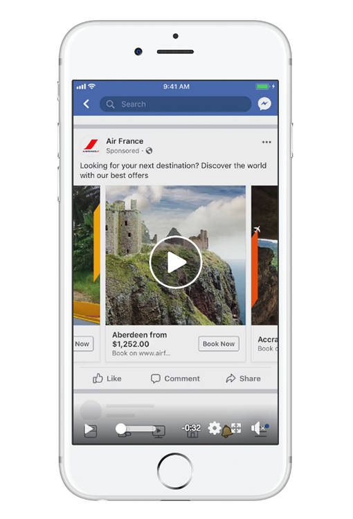 Facebook Ad Size In-Feed Video Carousel Ad