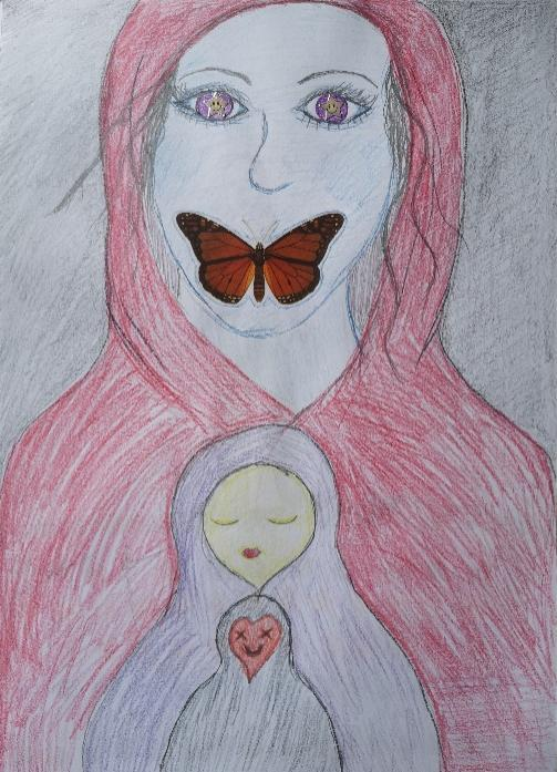 A woman covered in a red veil, with starry purple eyes, and a butterfly covering her mouth. In front there is a smaller figure with a purple veil, with yet another smaller figure in front with a red heart-shaped face and black veil.
