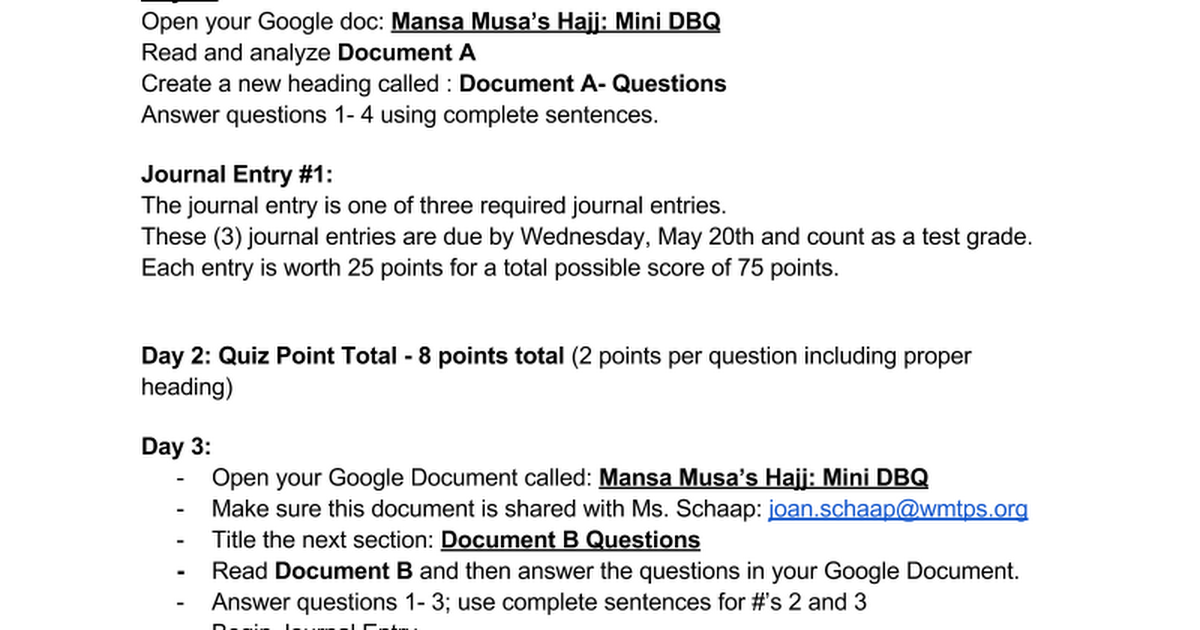 dbq mansa musa essay Information about world history ap tests sand roads & mansa musa dbq essay prewriting assignment.