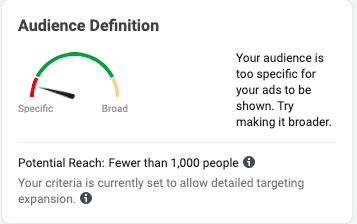 Infographic showing audience is too specific for your ads to be shown.