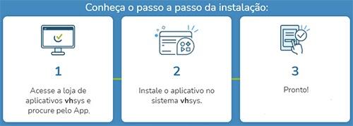 Conheça o passo a passo da instalação:  1  Acesse a loja de  aplicativos vhsvs e  procure pelo App.  2  Instale o aplicativo no  sistema vhsvs.  3