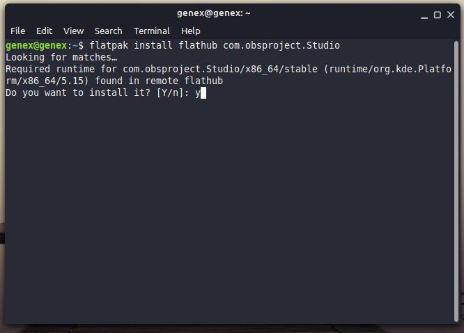 install obs studio flatpak on linux system