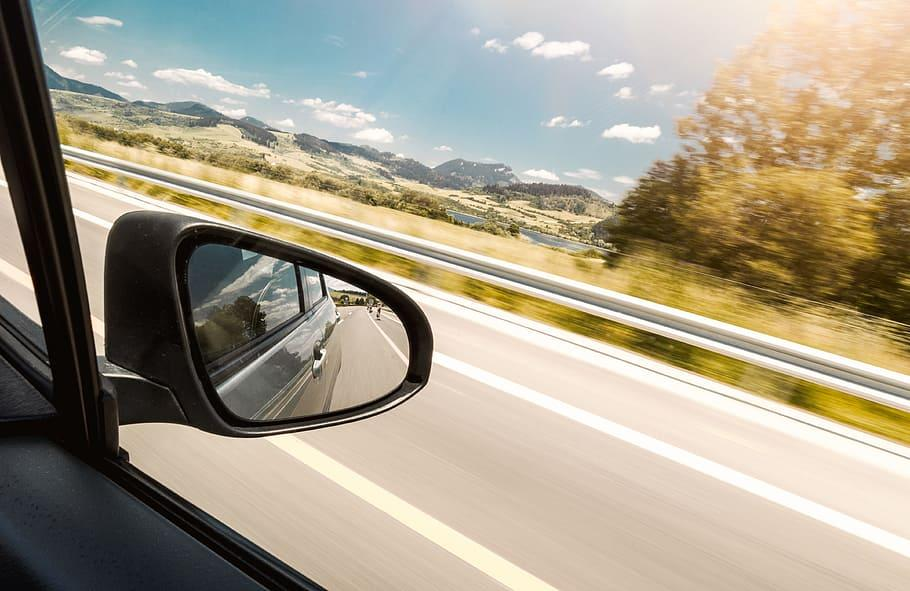 reflection, rear-view mirror, car, motion, transportation, mode of transportation, motor vehicle, road, mountain, land vehicle