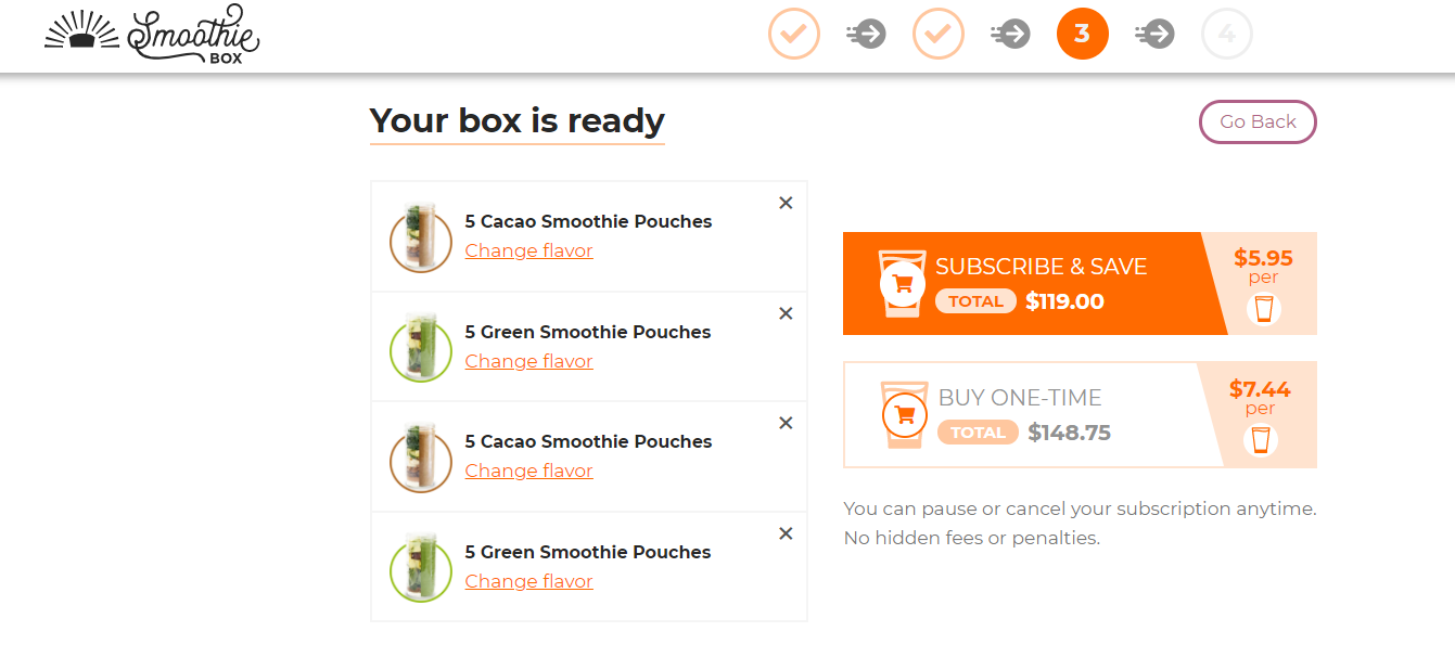 step 3 in SmoothieBox order