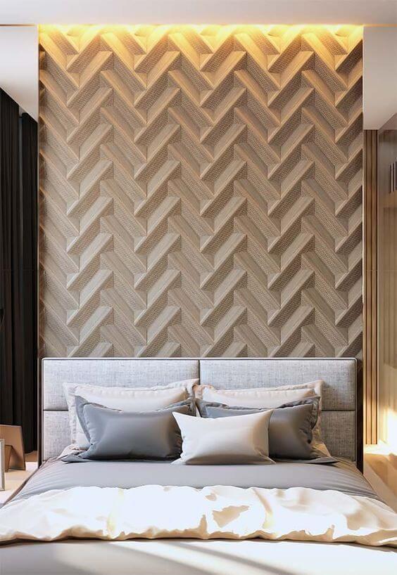 Cabeceira de cama estofada com parede de fundo em 3D