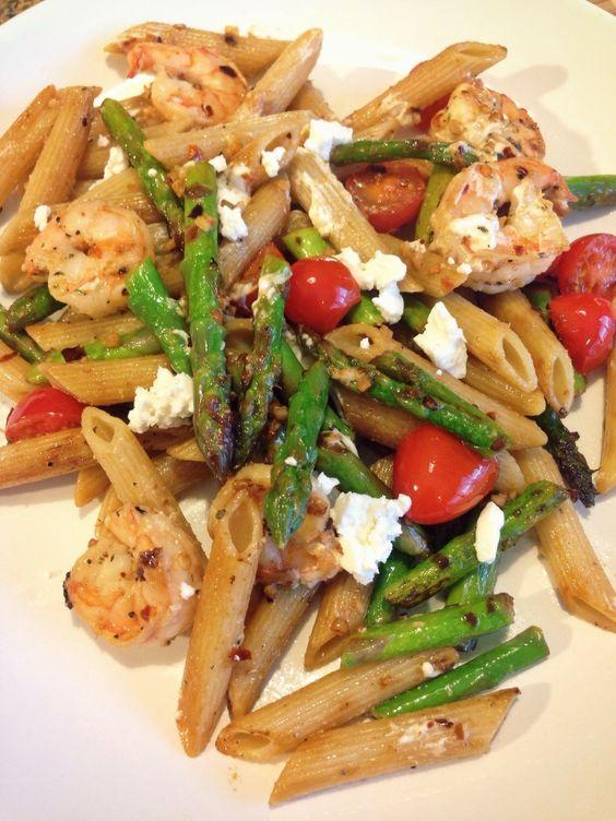 21 Day Fix: Shrimp with Asparagus, Cherry Tomatoes and Goat Cheese...clean eating: