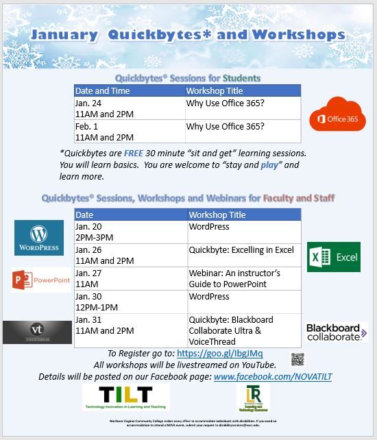 January Quickbytes and Workshops Schedule