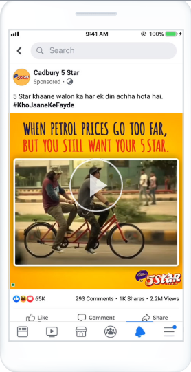 cadbury 5 star ad example on Facebook