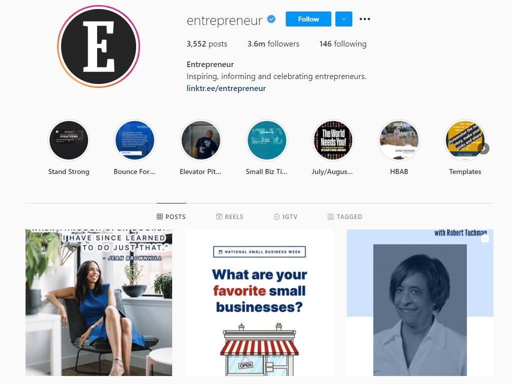 Entrepreneur Magazine Instagram profile