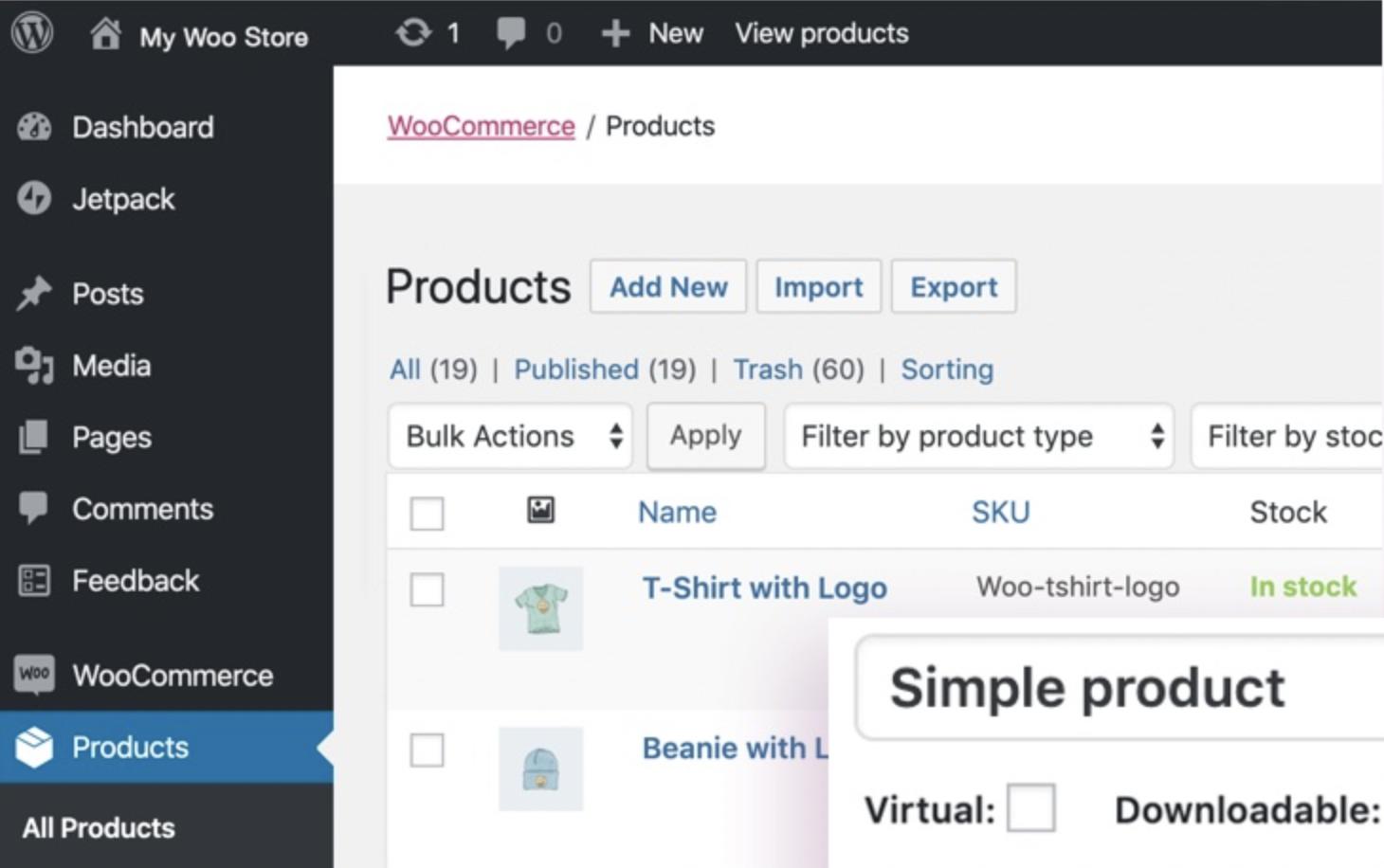 Open-source e-commerce platform WooCommerce screenshot