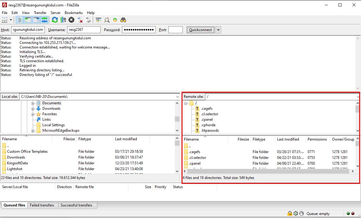 Cara menggunakan FTP FileZilla image 3
