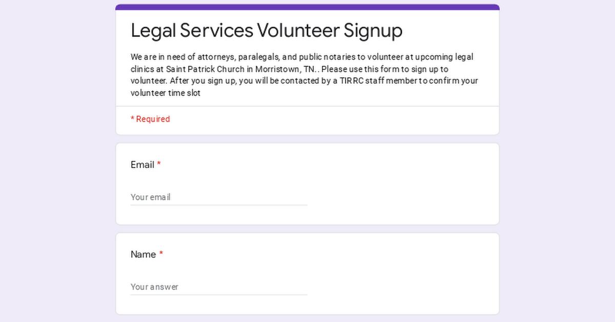 legal services volunteer signup