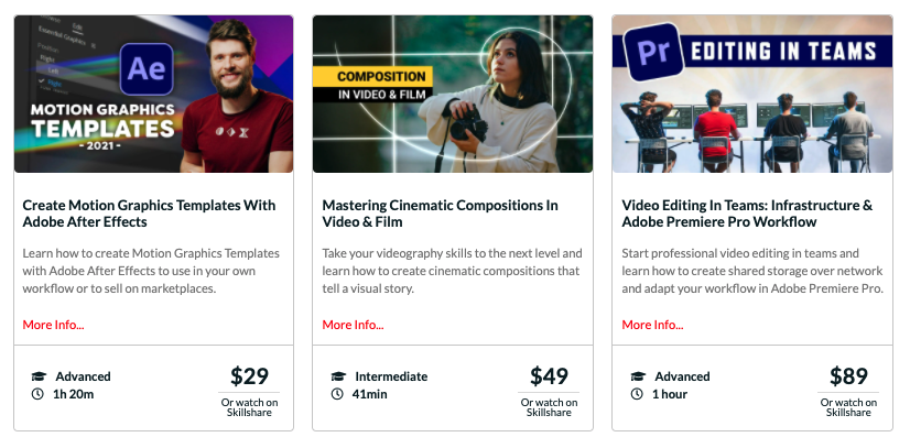 Screengrab of Top Teacher Jordy Vandeput's Courses page on his company website, which lists a few of his Skillshare classes with links to each one. Image source: Cinecom