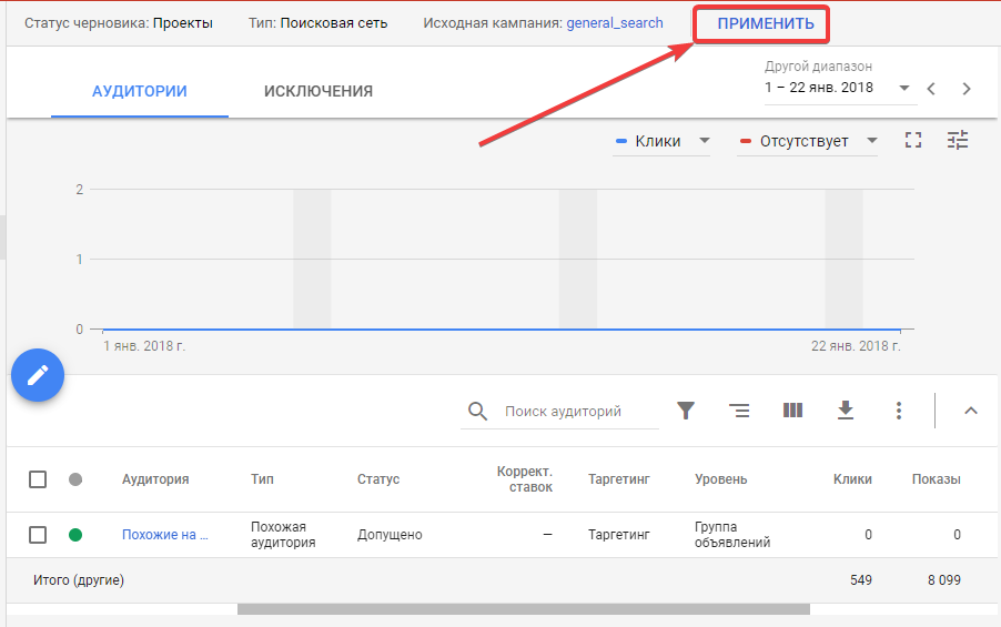 Сохранение эксперимента в Google AdWords