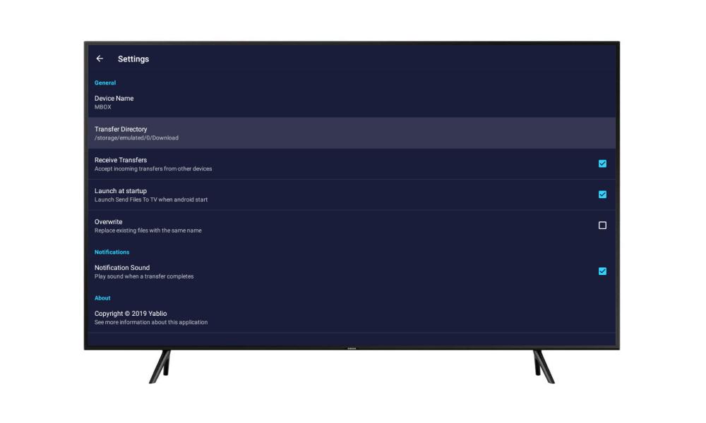 تنظیمات برنامه Send Files to TV روی اندروید باکس نت باکس