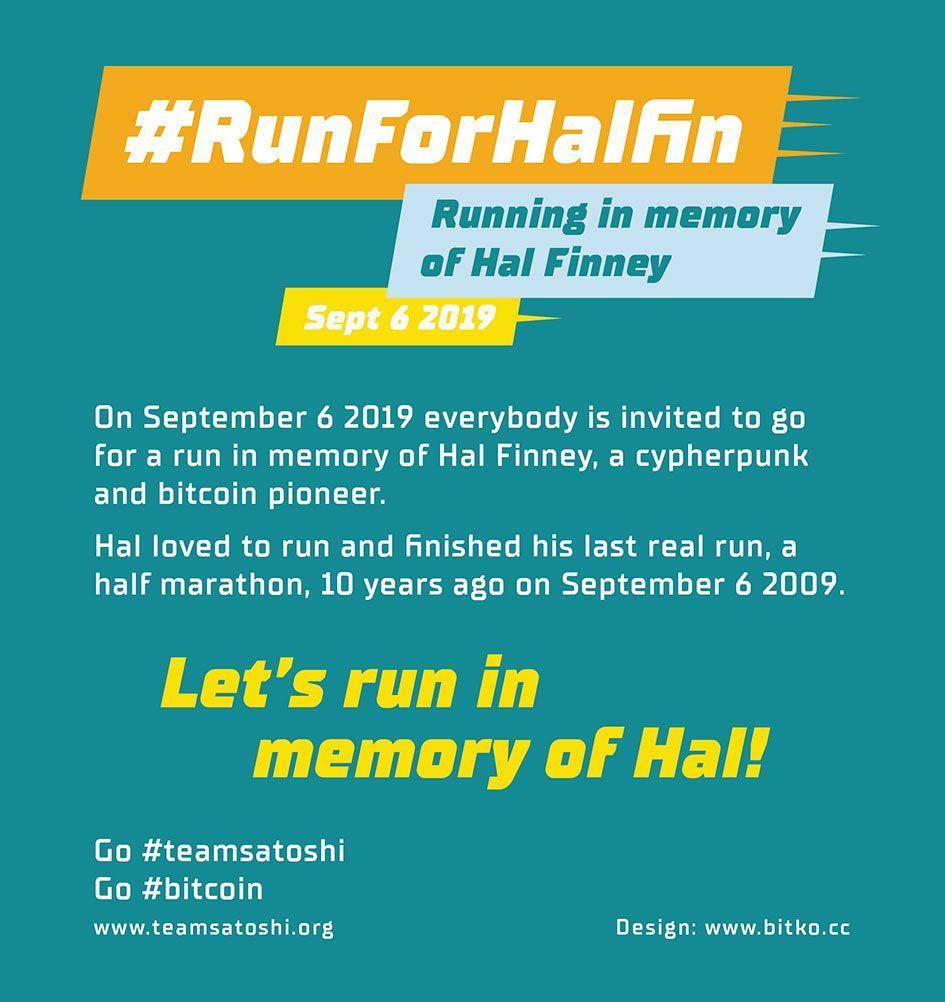 Celebrating a Pioneer, Bitcoiners Will #RunForHalFin