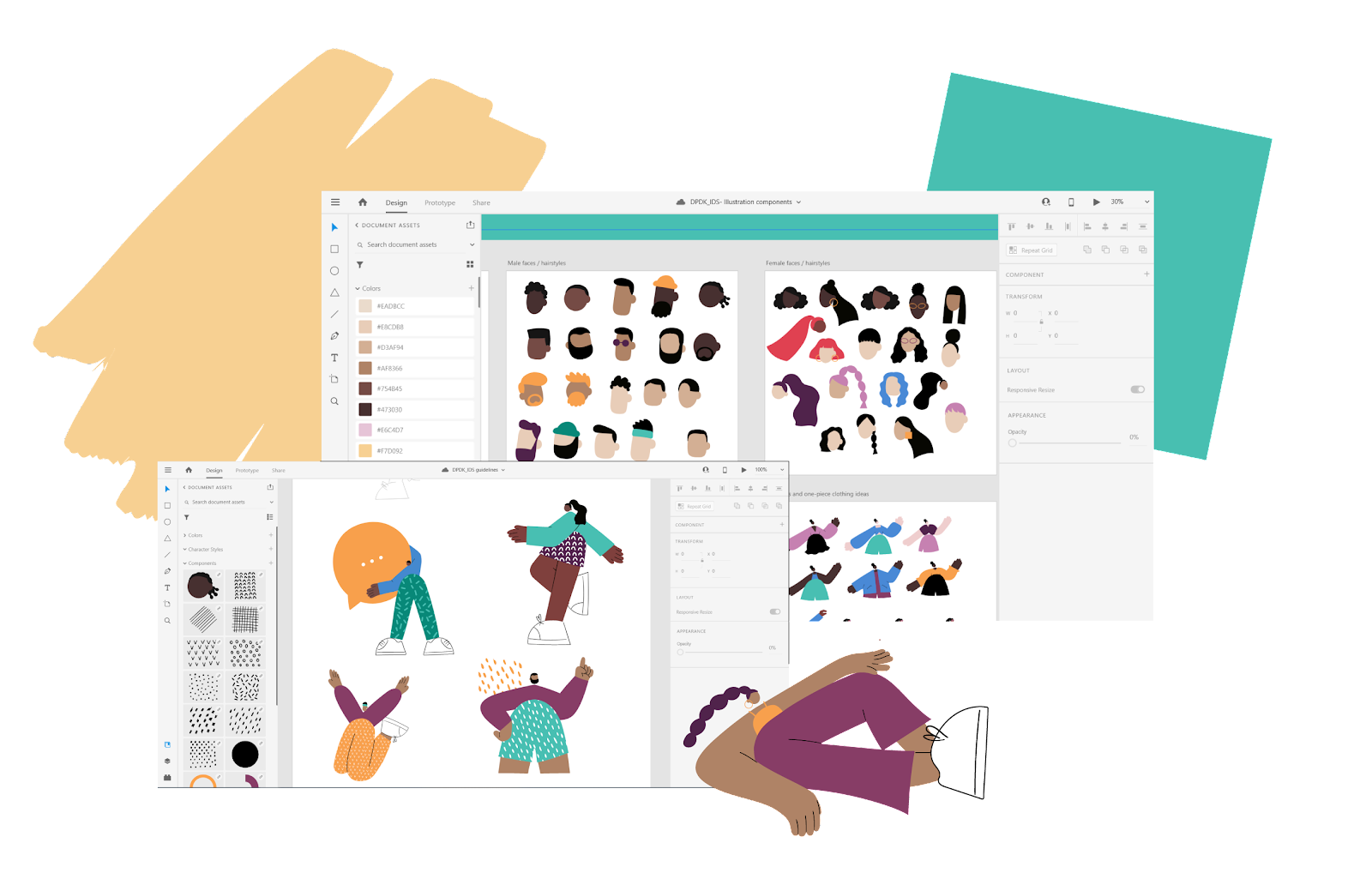 A snapshot of screens in Adobe XD, showcasing DPDK's inclusive design system with its different characters of diverse backgrounds.