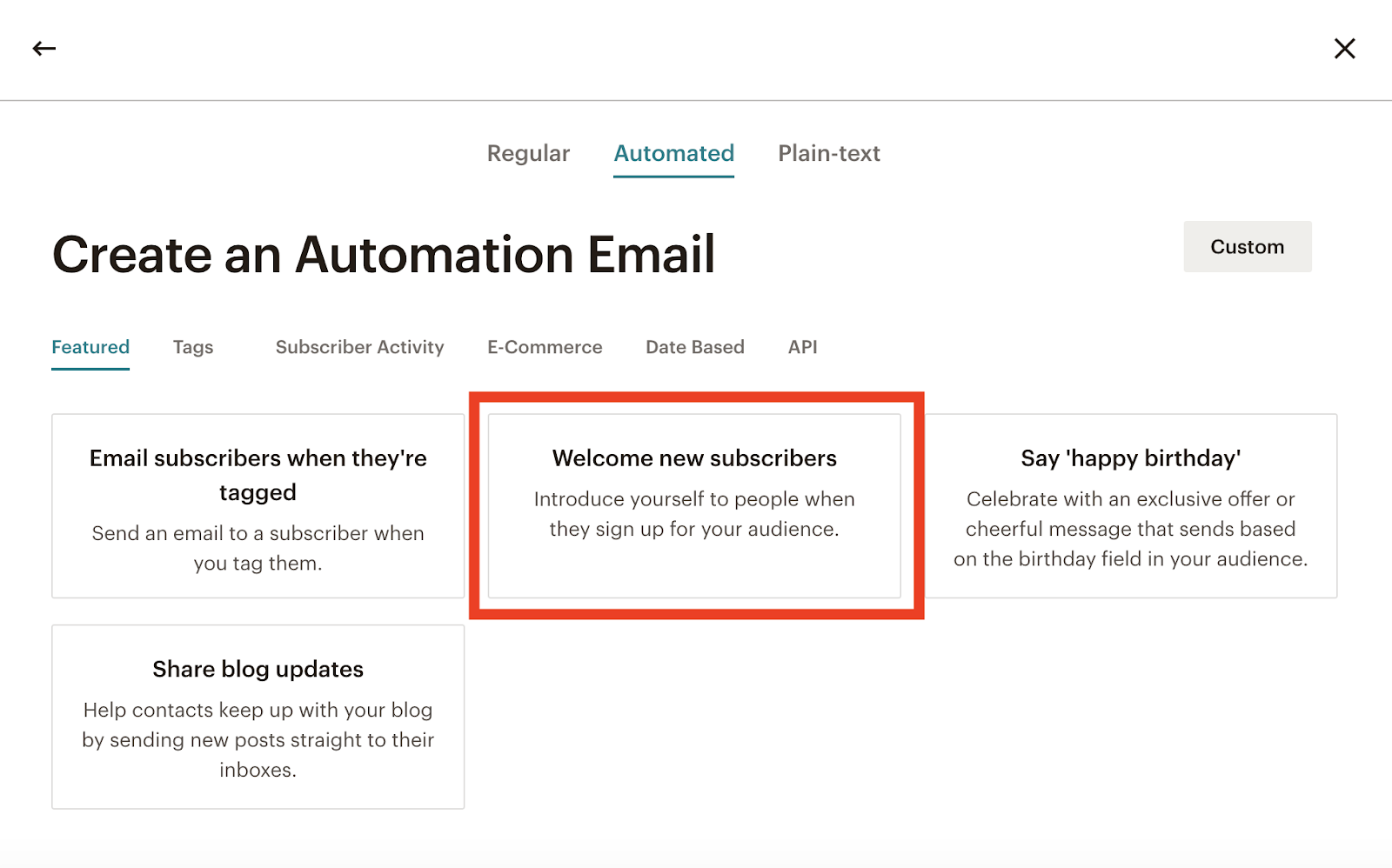 Screenshot of how to set up an automation email to welcome new subscribers
