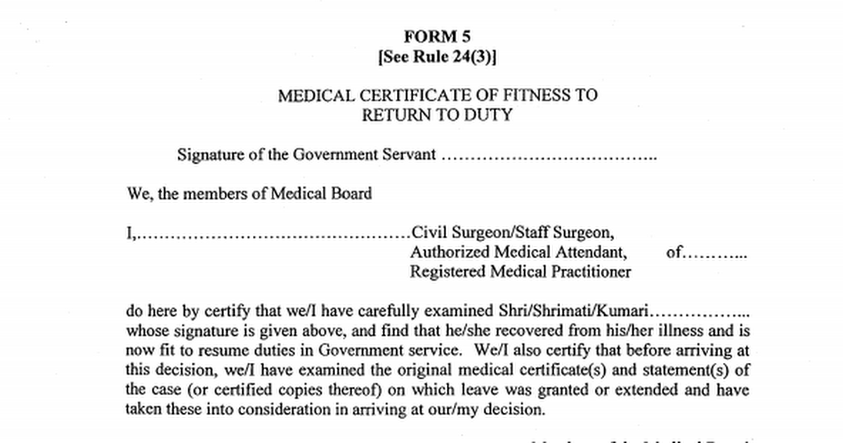 Form 5medical Certificate Of Fitnesspdf Google Drive