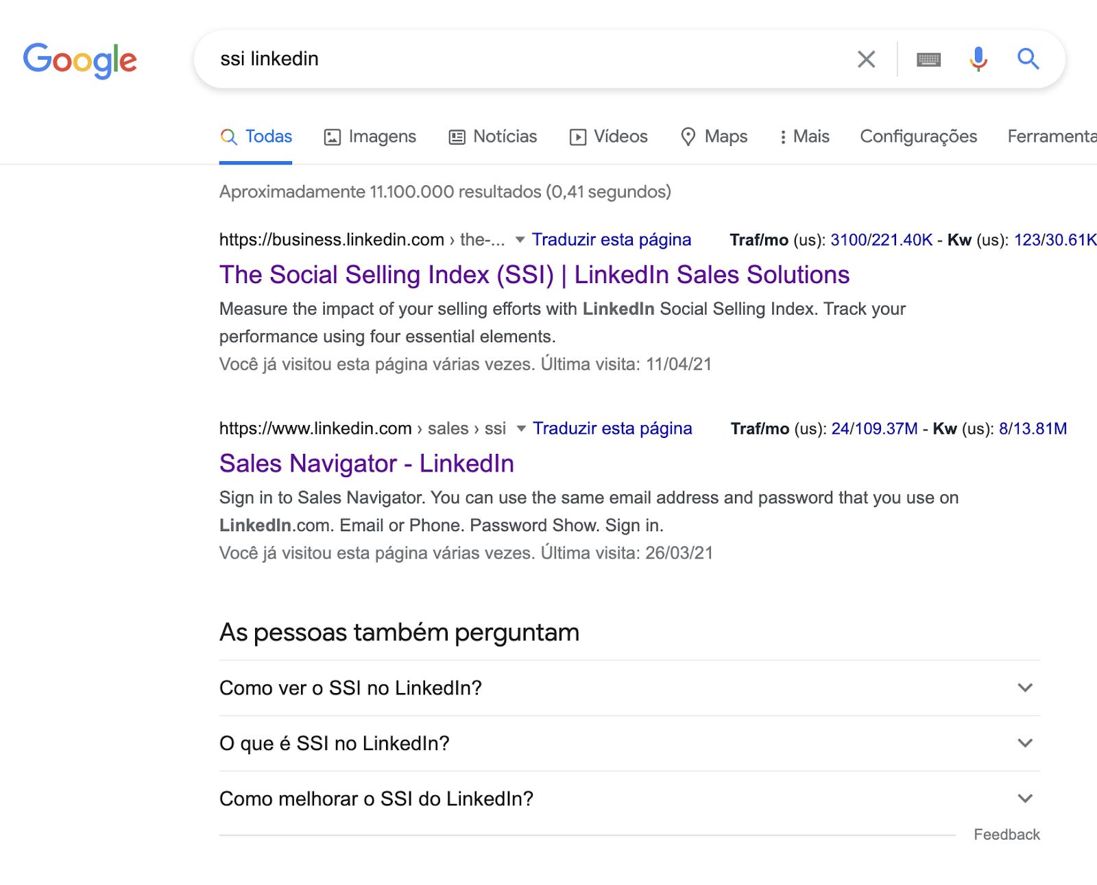 """Imagem do navegador de buscas do Google com pesquisa por """"ssi linkedin"""""""