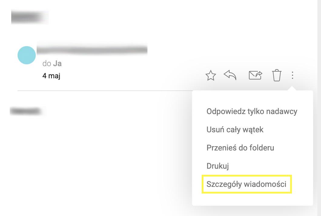 mail otrzymany na skrzynkę Interia, szczegóły wiadomości