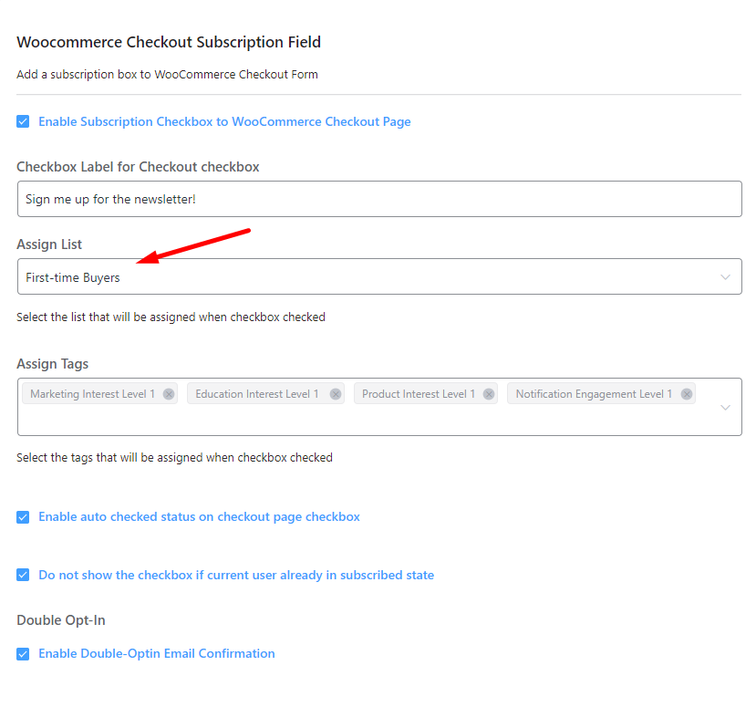 fluentcrm woocommerce subscription checkbox, add woocommerce subscription checkbox, segment woocommerce contacts
