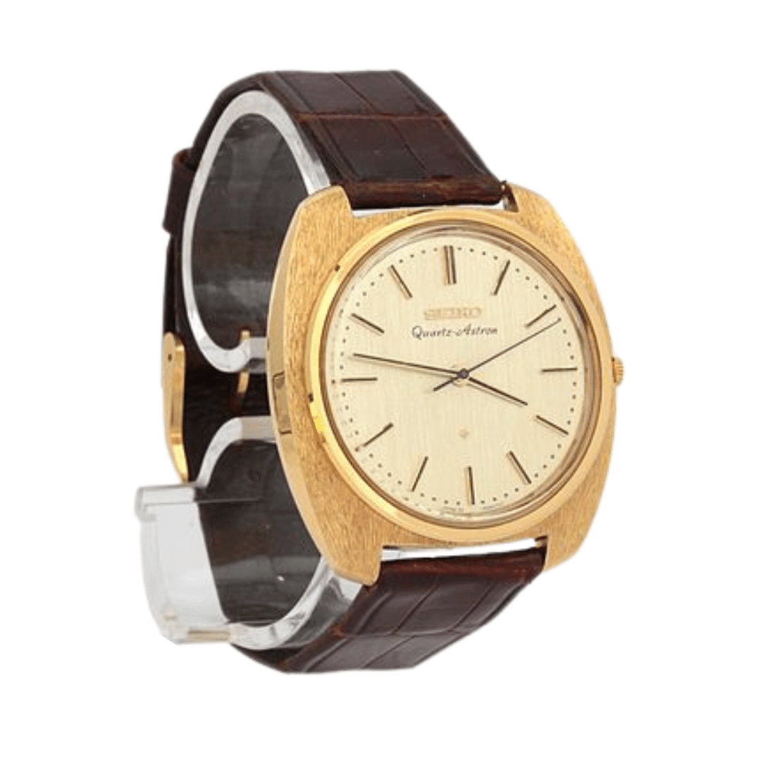 World's first quartz watch from Seiko that started the Quartz Crisis. Has a leather band, and a gold case.