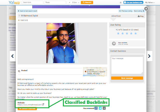 Classified link building service