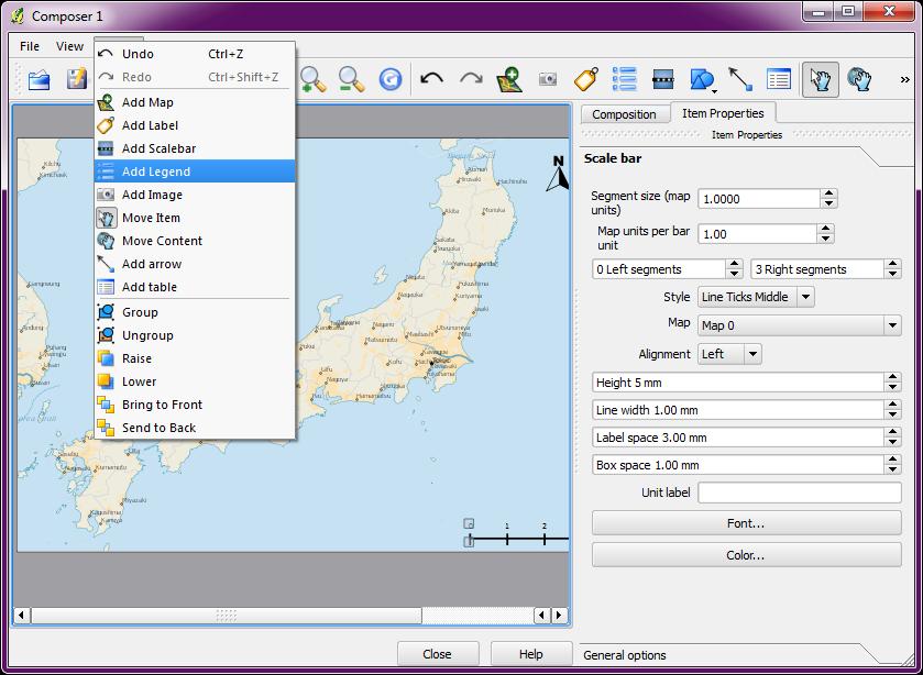 Quantum GIS QGIS Tutorials Tutorial Making Maps For Print - Japan map legend
