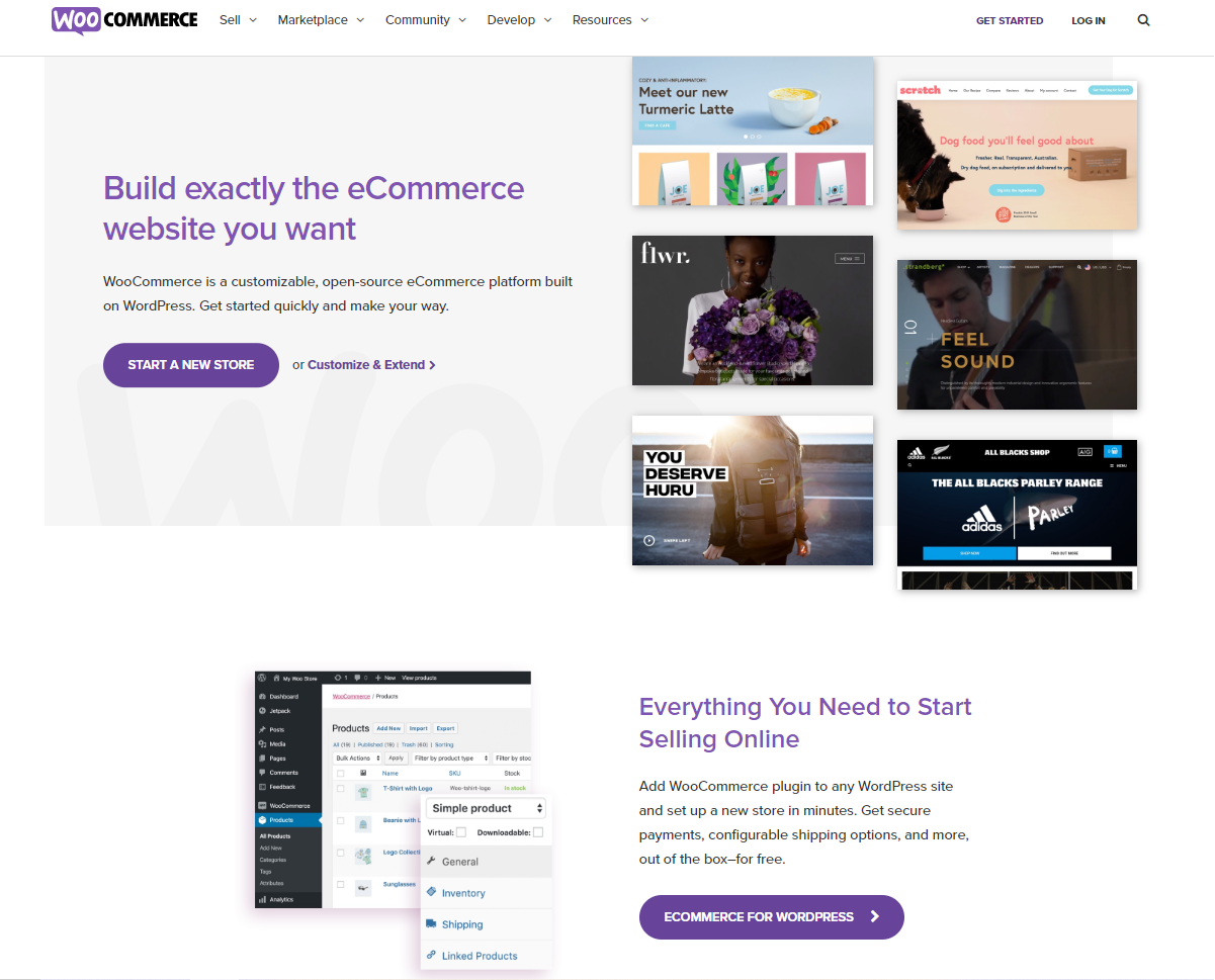 screenshot of WooCommerce homepage