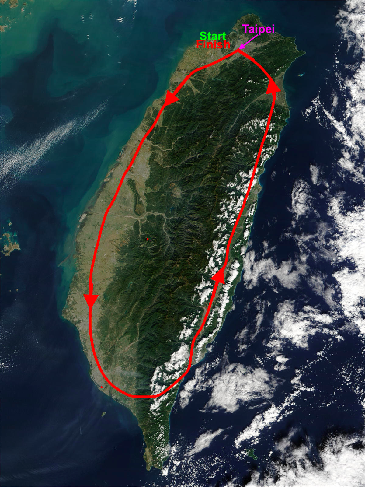 Cyclin in Taiwan route map