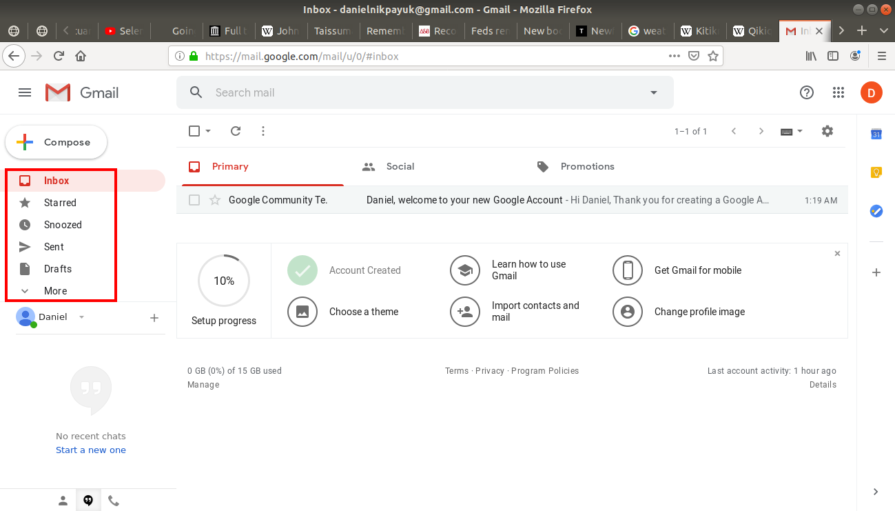 Folders highlighted in Gmail