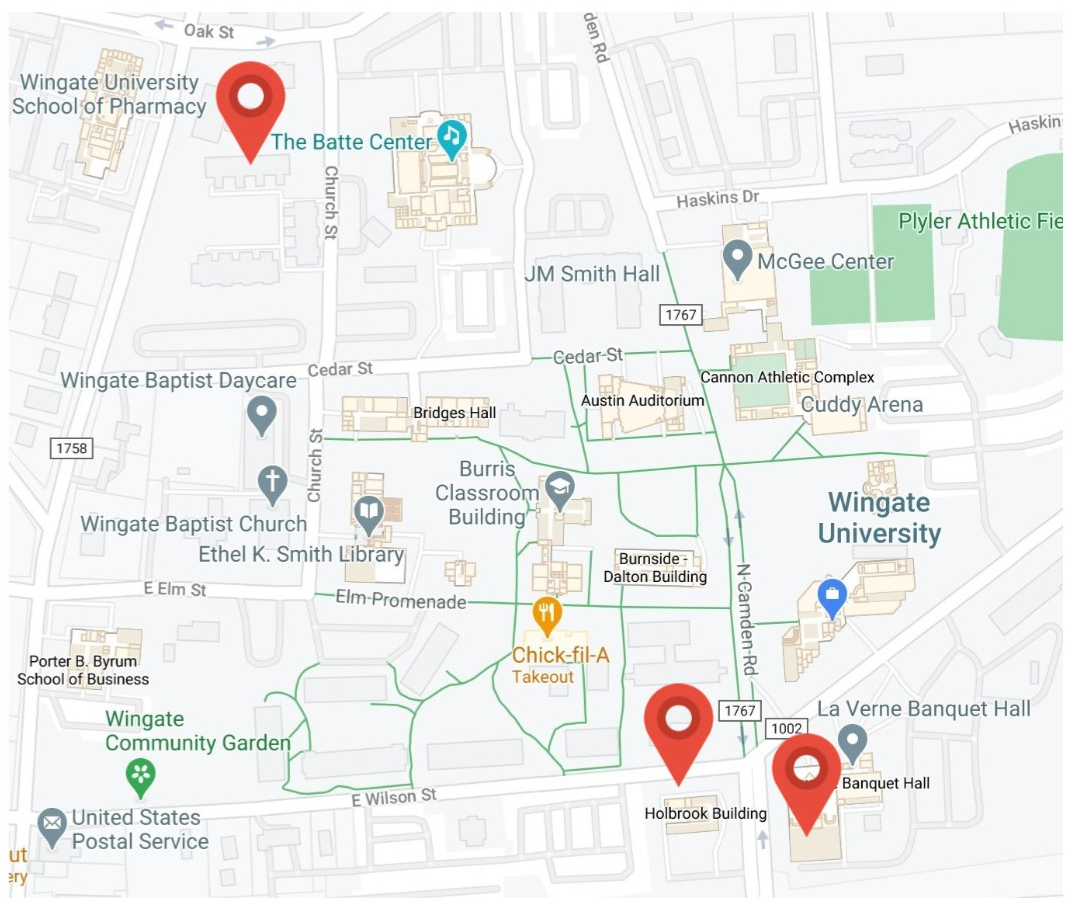Wingate University Updated COVID-19 Testing Locations Map
