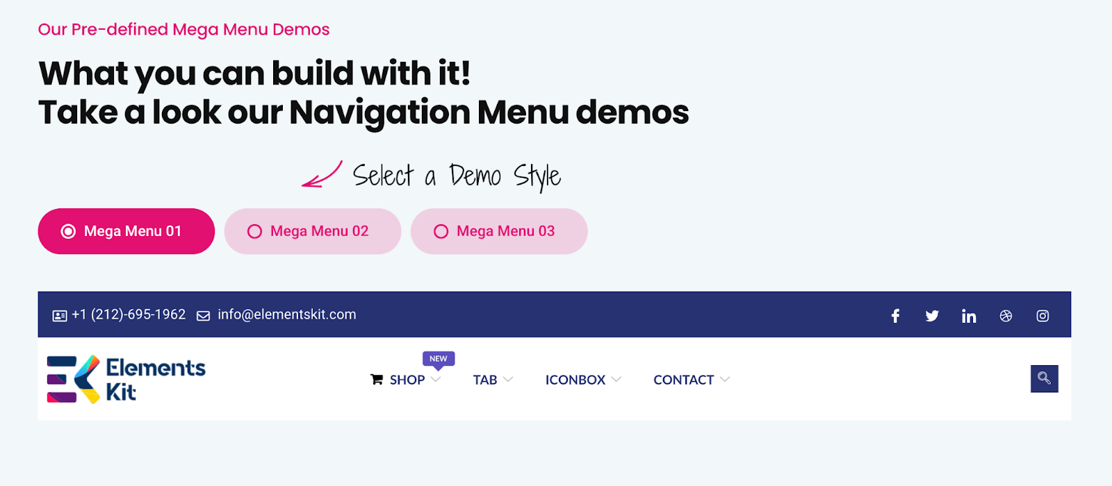 WordPress Mega Menu Example ElementsKit