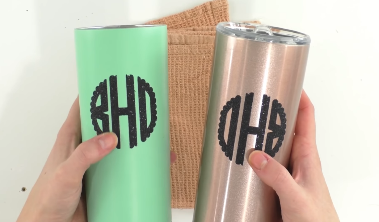 completed iron on vinyl tumblers
