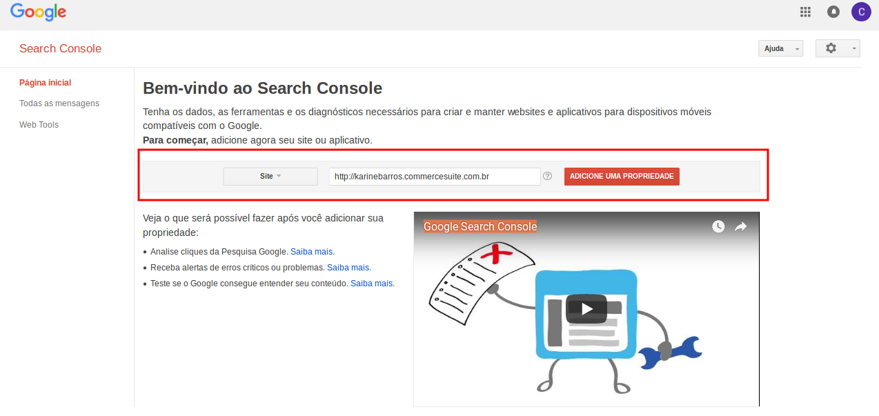 Ferramentas do Google Search Console