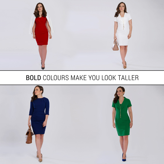 bold colours for petite women make them look taller