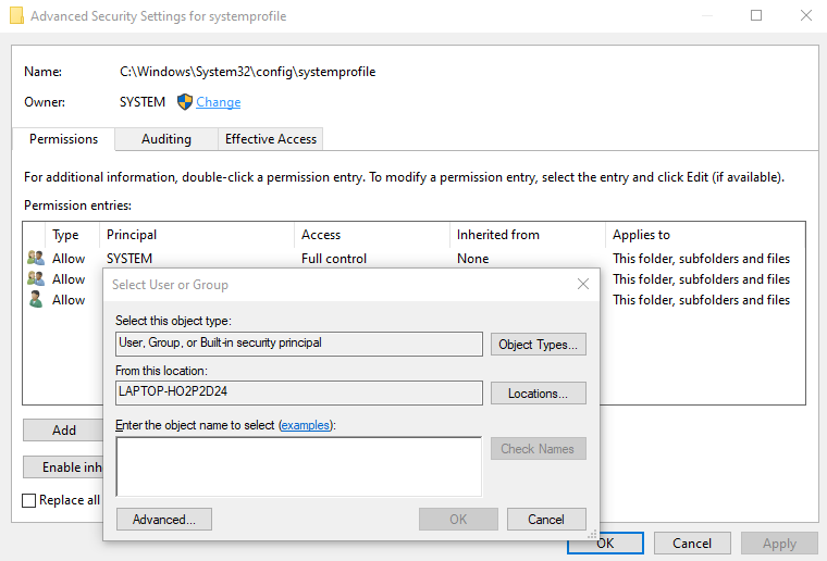Navigate to the Advanced button in the bottom right corner of the dialog box.