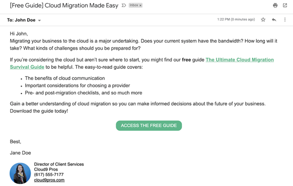 An email example promoting a free guide by localiq