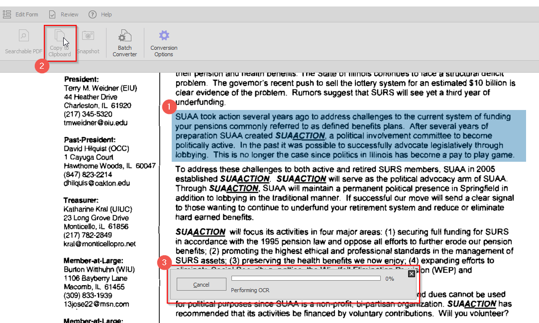 copy text from a scanned PDF with OCR