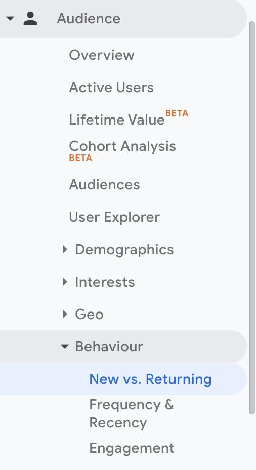 Audience behaviour Google Analytics