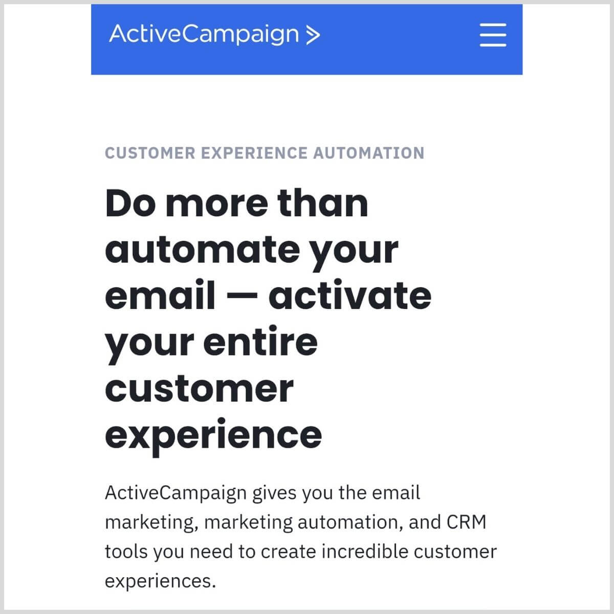 ActiveCampaign homepage