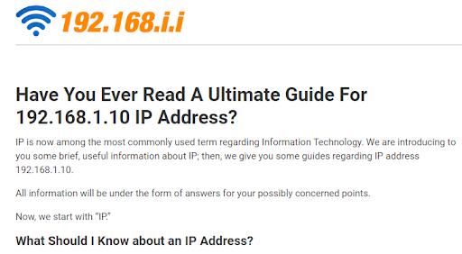 Trang 192.168.i.i.com được trình bày bằng tiếng Anh