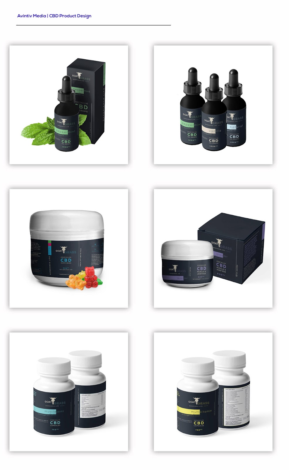 CBD Branding, CBD Marketing, Goat Grass CBD, Product Design, Packaging, Branding, Avintiv Media