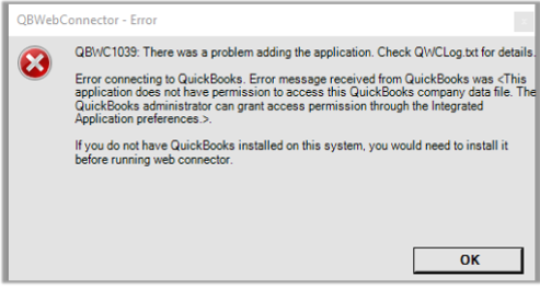 fix QuickBooks Error QBWC1039