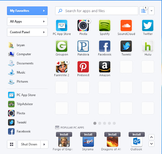 Pokki dan panel untuk aplikasi favorit