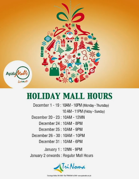 Trinoma Christmas Holiday Mall Hours 2013