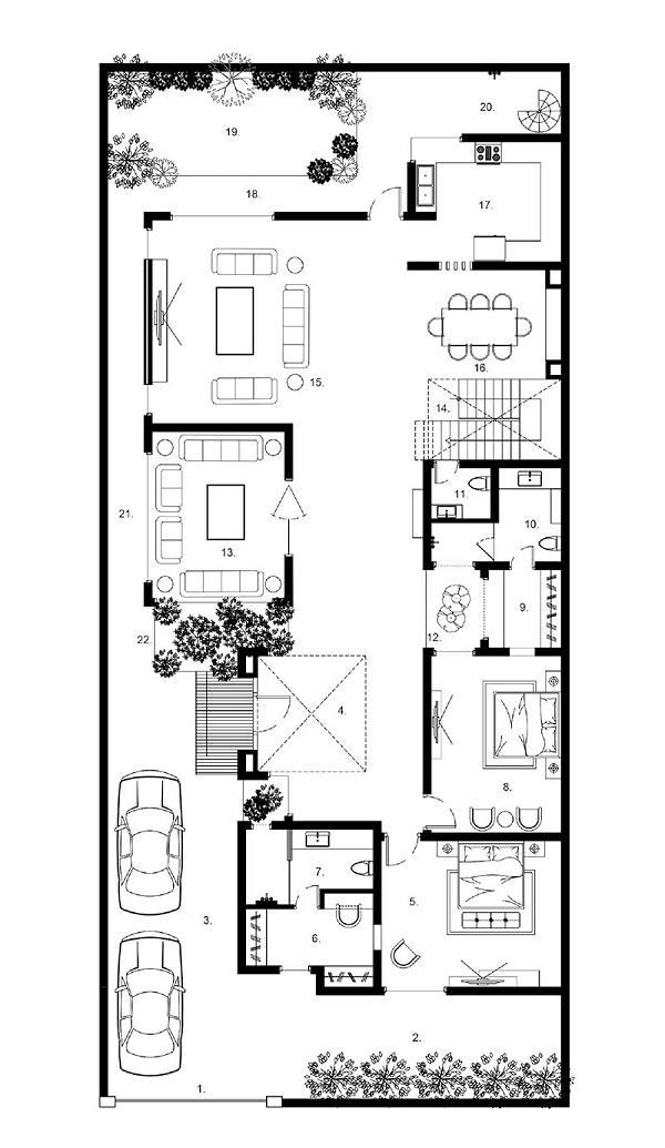 Bản vẽ mặt bằng biệt thự phong cách hiện đại tầng 1