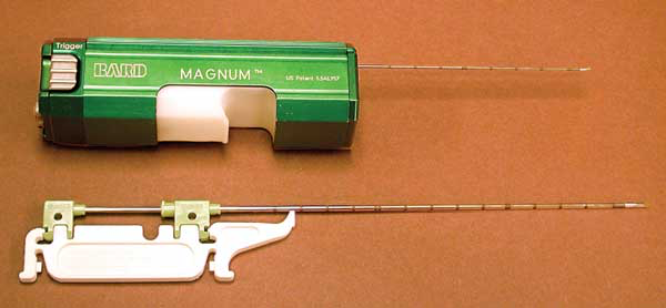 The Bard Magnum® biopsy instrument (C.R. Bard, Inc., Covington, GA. 30014) uses disposable needles that are available in different gauges and lengths.